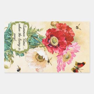 Summer Time Vintage Floral Poppies Rectangular Sticker
