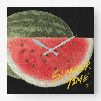Summer time- watermelon square wall clock