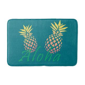 "summer tropical ""aloha"" text, colorful pineapple bath mat"