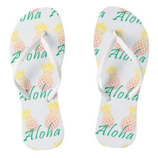 "summer tropical ""aloha"" text, colorful pineapple flip flops"