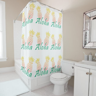 "summer tropical ""aloha"" text, colorful pineapple shower curtain"