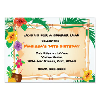 Summer Tropical Bamboo Tiki  Beach Invitation
