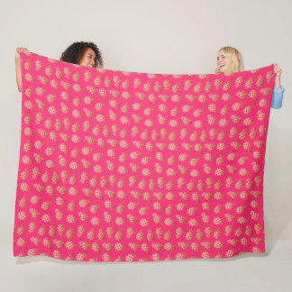 Summer tropical gold and pink pineapple pattern fleece blanket