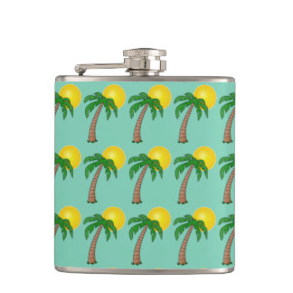 Summer Tropical Island Palm Tree and Beach Sunset Hip Flask