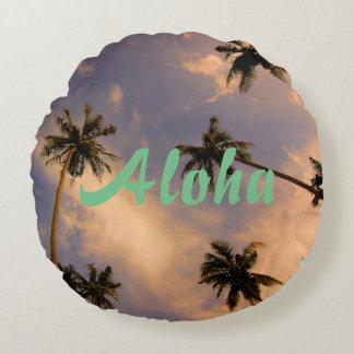 Summer tropical palm tree paradise aloha photo round cushion