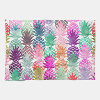 Summer tropical pineapples pastel watercolor hand towel