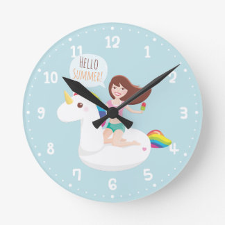 Summer Unicorn Pool Float Wall Room Decor Clock