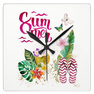 Summer, vacation, beach. Aloha Hawaii Square Wall Clock