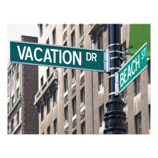 Summer Vacation Beach Street Signs Flyers