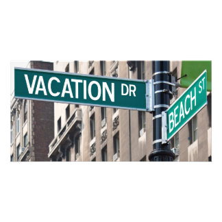 Summer Vacation Beach Street Signs Personalized Photo Card