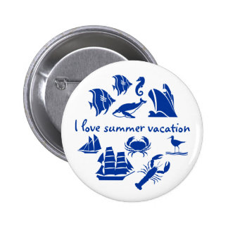 Summer vacation fun blue and white 6 cm round badge