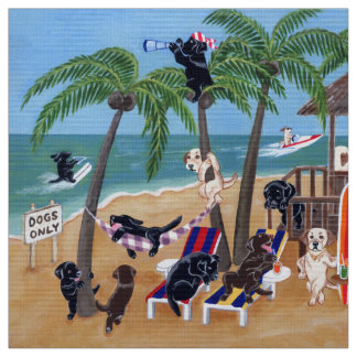 Summer Vacation Labradors Painting Fabric