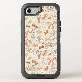 Summer Vacation Pattern OtterBox Defender iPhone 8/7 Case