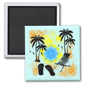 Summer Vacation Square Magnet