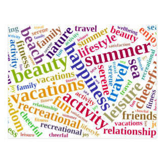 Summer vacations words cloud postcard