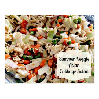 Summer Veggie Asian Cabbage Salad Recipe Card Post Card