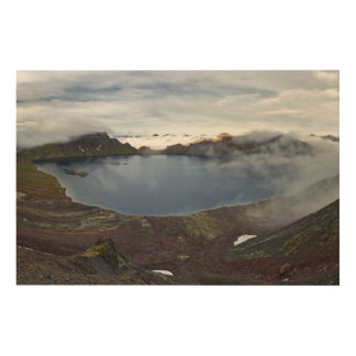 Summer view of crater lake of Kamchatka volcano Wood Print