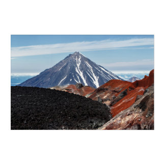 Summer volcanic landscape: active crater volcano acrylic print