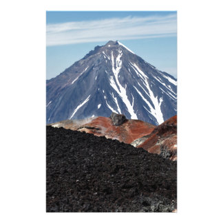 Summer volcanic landscape: active crater volcano personalised stationery