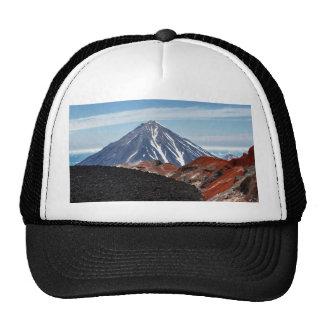 Summer volcanic landscape - crater active volcano cap