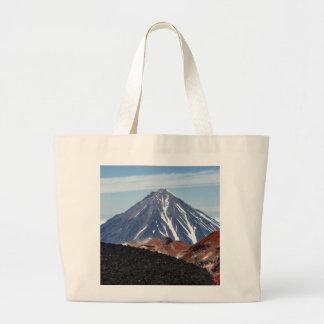 Summer volcanic landscape - crater active volcano large tote bag