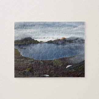Summer volcanic landscape: view of crater lake jigsaw puzzle