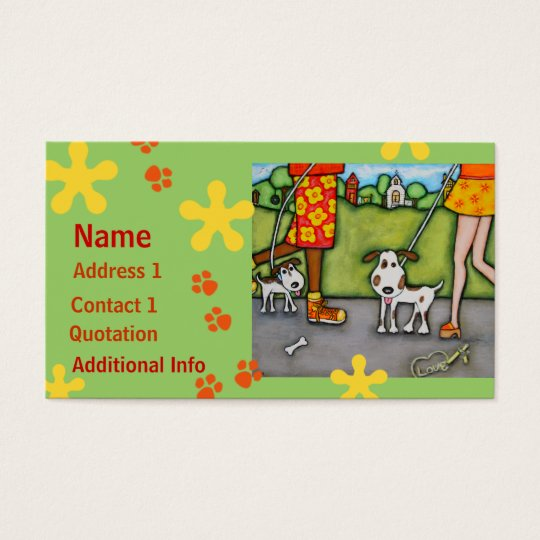 Summer Walk With Dogs and Cats Business Cards