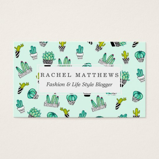 Summer Watercolor Cactus Black and White Pots Business Card