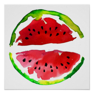 Summer Watercolor Watermelon Poster