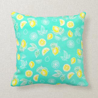 Summer watercolor yellow lemons fruits mint green throw pillow