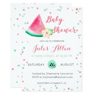 Summer watermelon baby shower invitation