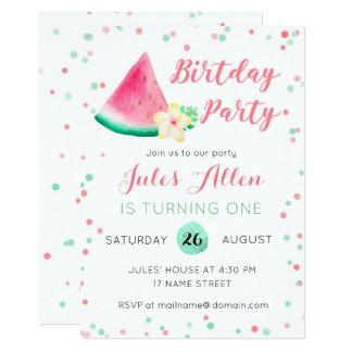 Summer watermelon first birthday invitation