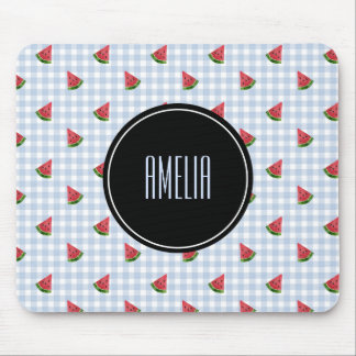 Summer Watermelons | Gingham Checkered Blue Mouse Pad