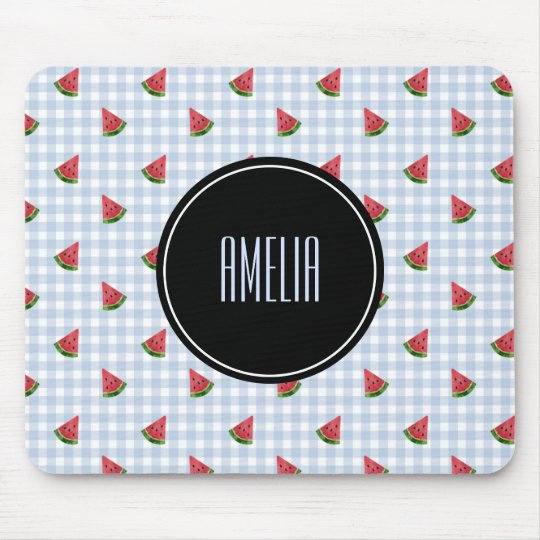 Summer Watermelons | Gingham Chequered Blue Mouse Mat