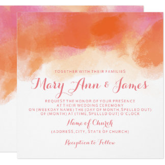 Summer Wedding Blush Pink Coral Watercolor Card