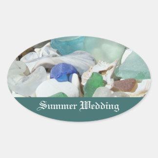 Summer Wedding invitation envelope seals Seaglass Oval Sticker