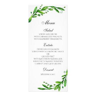 Summer wedding menu outdoor. Green dinner menu Personalised Rack Card
