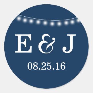 Summer Wedding String Lights Blue Classic Round Sticker