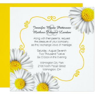 Summer White Daisies Wedding Invitation