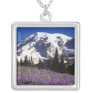 summer wildflowers at the base of Mount Rainier, 2 Silver Plated Necklace