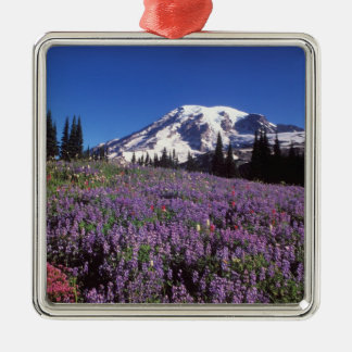 summer wildflowers at the base of Mount Rainier, Silver-Colored Square Decoration