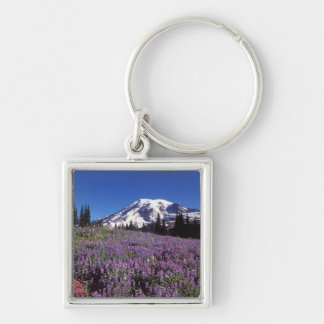 summer wildflowers at the base of Mount Rainier, Silver-Colored Square Key Ring