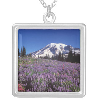 summer wildflowers at the base of Mount Rainier, Square Pendant Necklace
