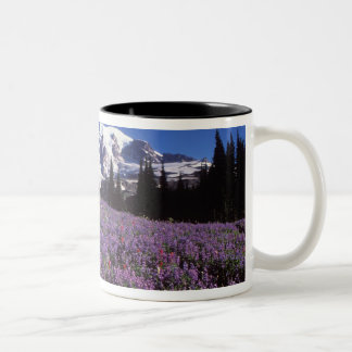 summer wildflowers at the base of Mount Rainier, Two-Tone Coffee Mug