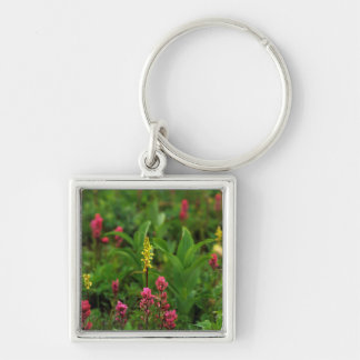 Summer Wildflowers Send Forth A Riot Of Color Silver-Colored Square Key Ring