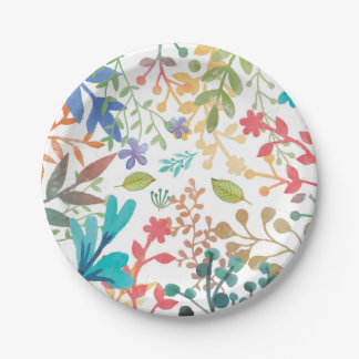 Summer Woodland Watercolor Paper Plates