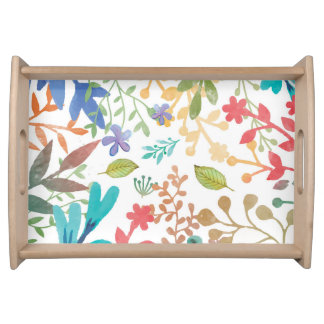 Summer Woodland Watercolor Serving Tray