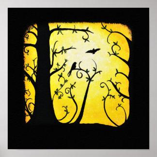 Summer Yellow Swirled Tree with Birds Poster