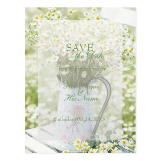 Summerfield Daisies Camomile Flower SAVE the Date Postcard