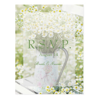 Summerfield Daisies Camomile Flower Wedding RSVP Postcard